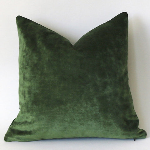 Dark Green Velvet Cushion Cover / Green Velvet Pillow / ZIPPER Pillow Cover / Solid Green Pillow / Green Velvet Pillow Cover - Annabel Bleu