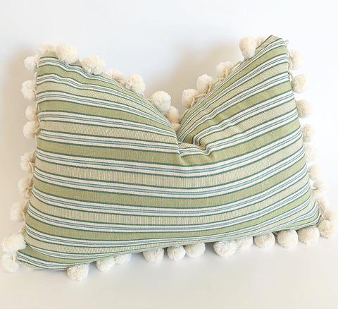 Apple Green Striped Pom Pom Pillow Cover - Annabel Bleu