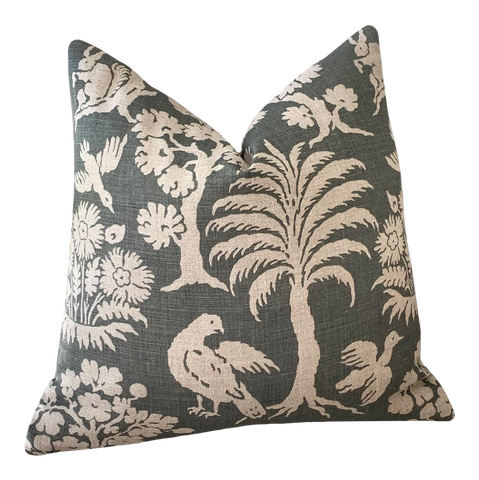 Schumacher Woodland Silhouette Pillow Cover - Annabel Bleu