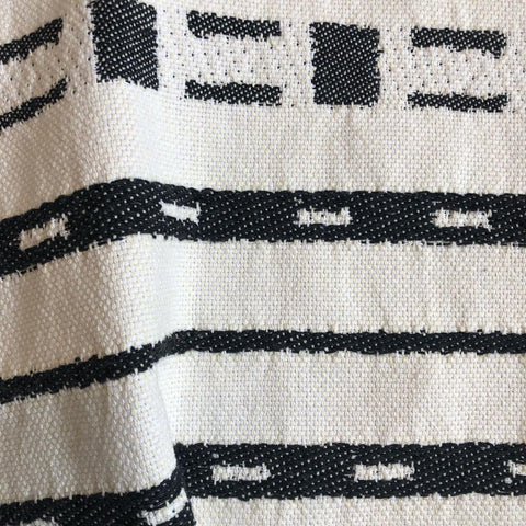 Black Ivory Abstract Striped Upholstery Fabric by the yard / Mudcloth Fabric / Cotton Upholstery / Minimalist Heavyweight Backed Upholstery - Annabel Bleu