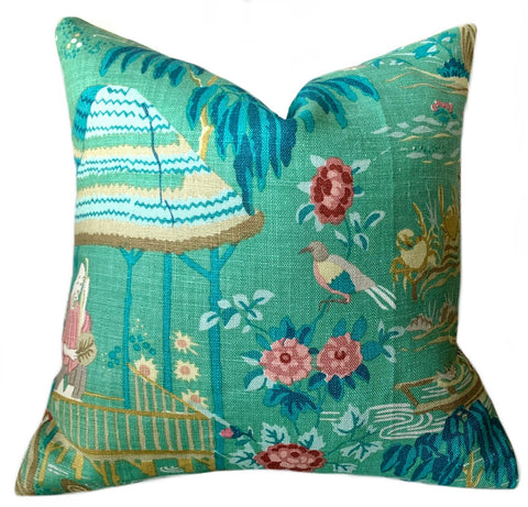 Jade Green Schumacher Yangtze River Pillow Cover 16x16 - Annabel Bleu
