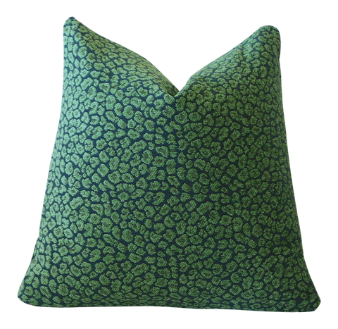 Malachite Green Blue Pillow Cover / 10 size options / Leopard Accent Pillow / Decorative Throw Pillow / Teal Velvety Green Chenille - Annabel Bleu