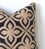 Embroidered African Kuba Cloth Pillow / Black and Beige Pillow Cover / Needlepoint Pillow Case - Annabel Bleu