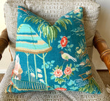 Peacock Schumacher Yangtze River Pillow Cover 16x16 - Annabel Bleu