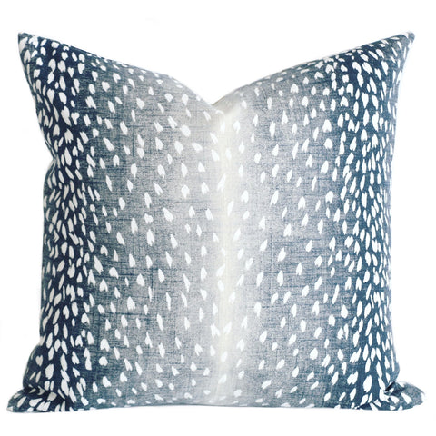 Navy Fawn: Ombré Animal Print Pillow Cover - Annabel Bleu