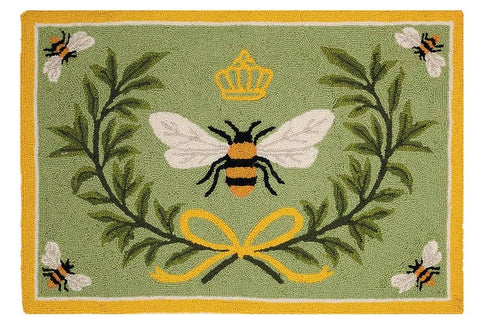 Queen Bee Wool Hooked Rug 2x3 feet - Annabel Bleu