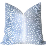 Sunset Beach Collection: Blue and White Fawn Throw Pillows / Blue Animal Print Pillow Cover - Annabel Bleu