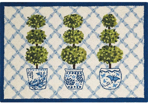 Topiary Wool Hooked Rug 2x3 feet - Annabel Bleu