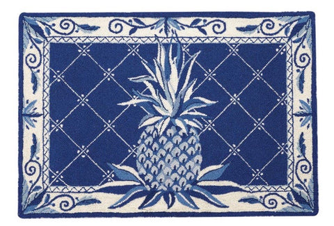 "Deep Blue Pineapple Wool Hooked Rug 27x40"" - Annabel Bleu"