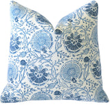 Block Printed Blue Floral Pillow Cover - Annabel Bleu