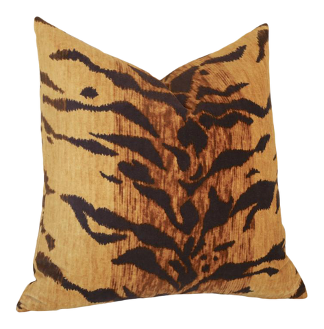 Tigre Velvet Pillow Cover / Velvet Tiger Animal Print Pillow Cover / Hollywood Regency Decor: Available in 10 Sizes - Annabel Bleu