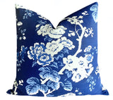 "Scalamandre Indigo Floral Pillow Cover 22x22"" - Annabel Bleu"