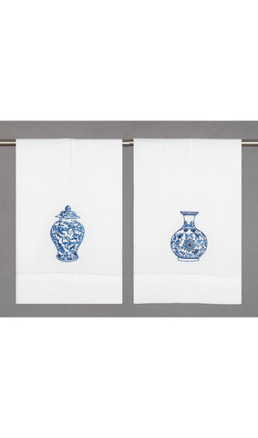 Embroidered Chinoiserie Guest Towel - Annabel Bleu