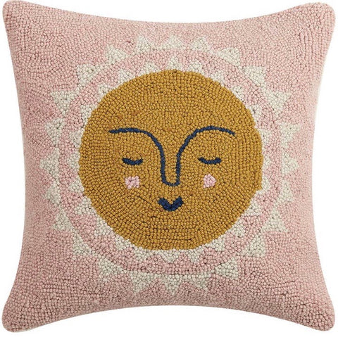 Pink Sunshine Wool Hooked Pillow - Annabel Bleu