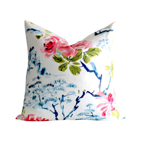 Leah: Asian Chinoiserie Chintz Floral Pillow Cover - Annabel Bleu