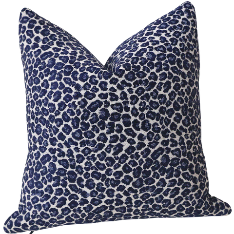 Indigo Chenille Leopard Pillow Cover : Available in 10 Sizes