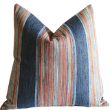 Indigo and Red Woven Stripe Pillow Cover / Striped Multicolor Decorative Throw Pillow Cover - Annabel Bleu