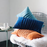 Pleated Chenille Pillow, in Turquoise, Royal Blue, or Orange - Annabel Bleu