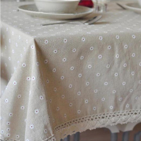 Delicate Floral Linen Tablecloth with Crocheted Edge - Annabel Bleu