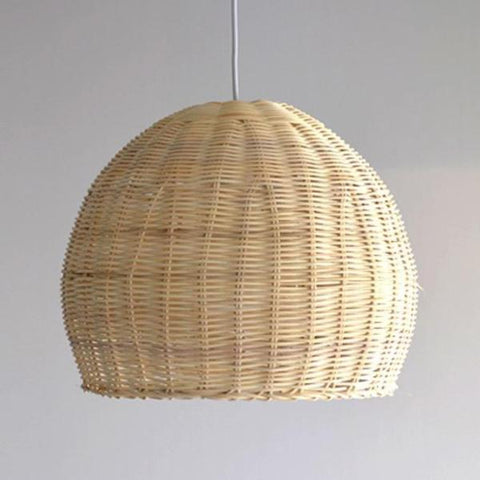 Hermosa: Hand-woven Wicker Rattan Basket Shade Pendant Light Fixture - Annabel Bleu