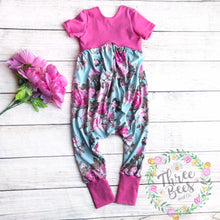 Load image into Gallery viewer, Pink roses on blue Gianna romper