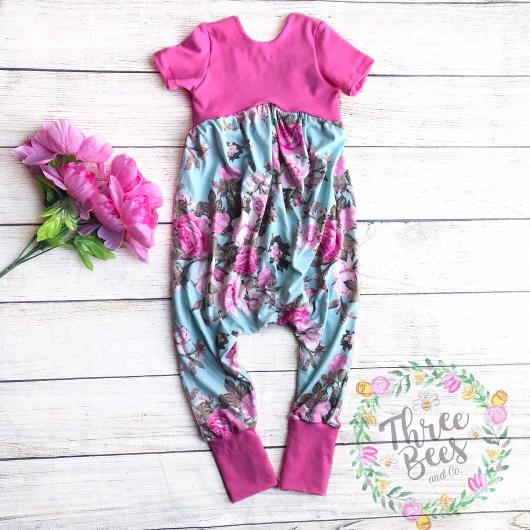 Pink roses on blue Gianna romper