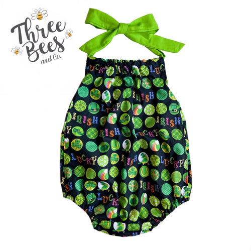 2T RTS St. Patrick's themed Piper Bubble romper