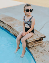 Load image into Gallery viewer, Leopard and Black Skylar swim suit