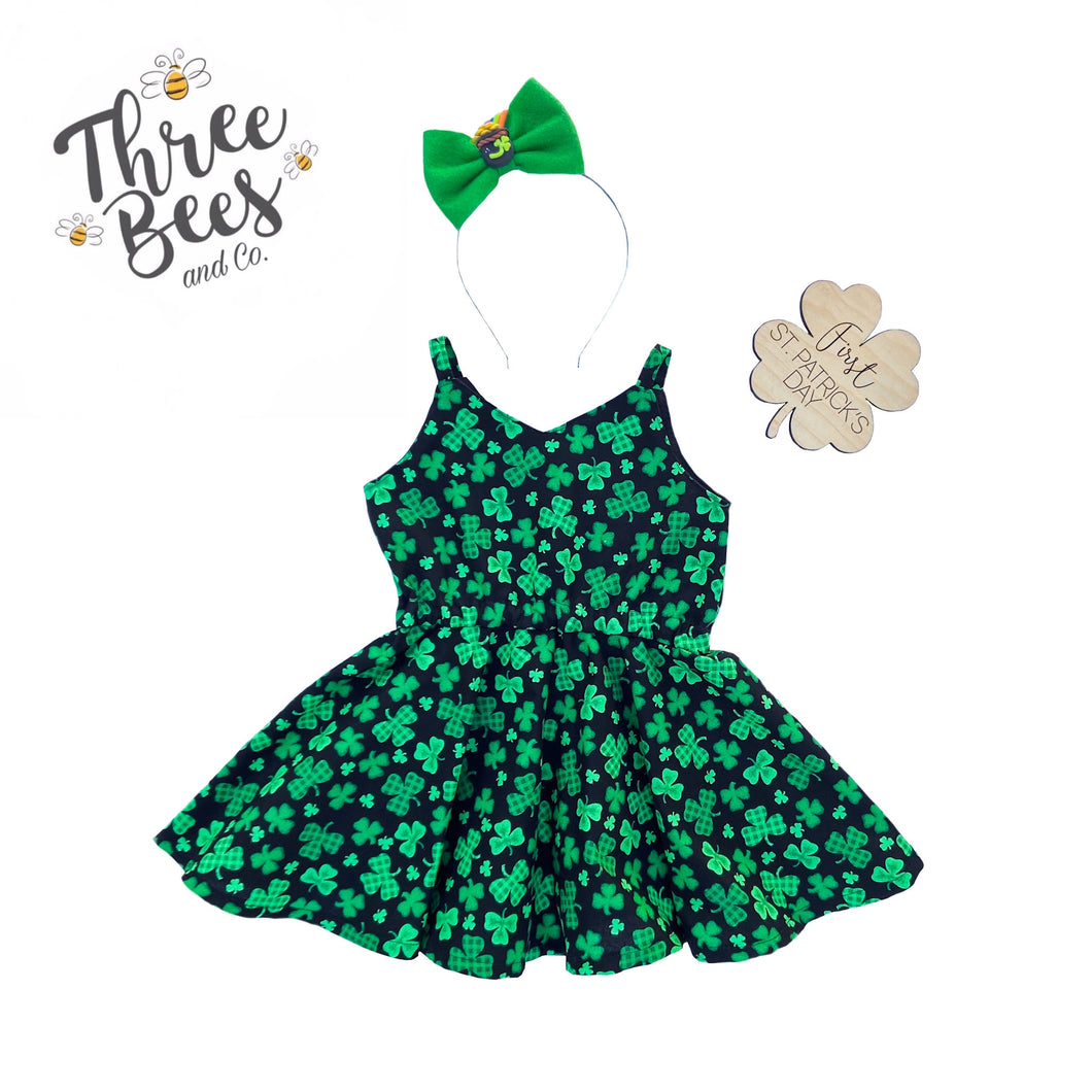 Black and plaid shamrock Lola Dress