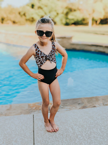 Leopard and Black Skylar swim suit