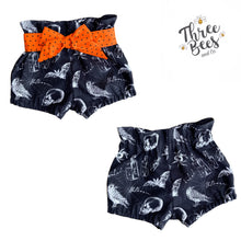 Load image into Gallery viewer, Halloween high waisted shorties or skirt preorder