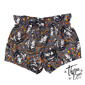 2/3 Gray pumpkin splatter High waisted shorties