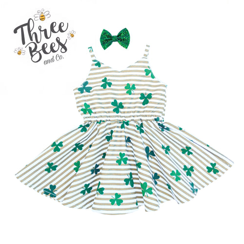 Gold sparkle stripe Shamrock Lola dress