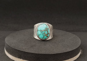Turquoise & Pyrite Men's Stamped Ring