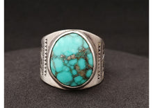 Load image into Gallery viewer, Turquoise & Pyrite Men's Stamped Ring