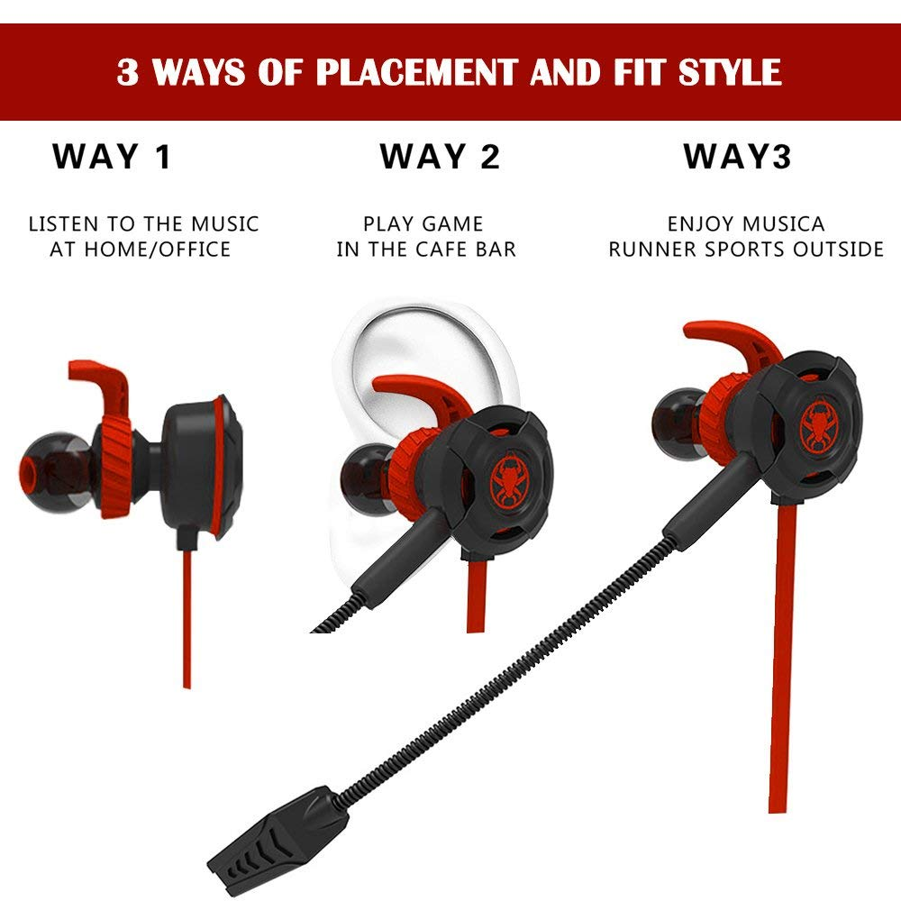 Plextone G30 Wired E-Sport Earphone with detachable Mic and Remute Controls for Hands-free Calling