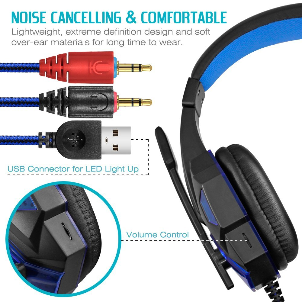 3.5mm Wired Noise Isolations Gaming Headphones- Volume Control. Cellphone DLAND Gaming Headset with Mic and Changeable LED Light for Laptop Computer PS4 and son on