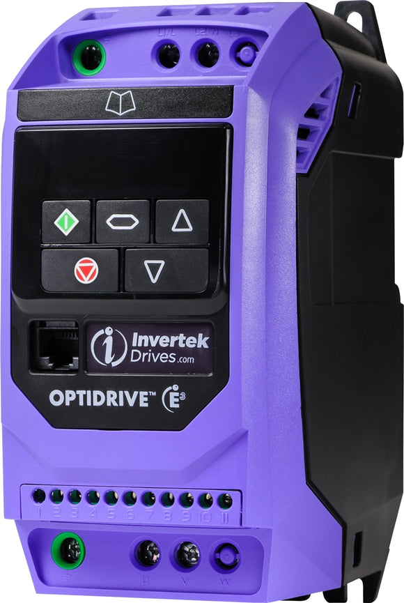 Invertek E3 Single Phase  IP20 4.3A, 1Ph. Input, 1Ph. Output, 200-240V, EMC Filter