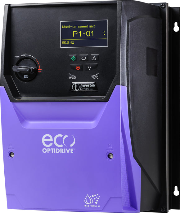 ECO IP66 7.5kW with Isolator, 3Ph. Input, 3Ph. Output, 380-480V, EMC Filter, OLED Display