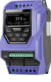PLUS 0,75kW, IP20, 1Ph. Input, 3Ph. Output, 200-240V, EMC Filter, Brake Chopper, TFT Display