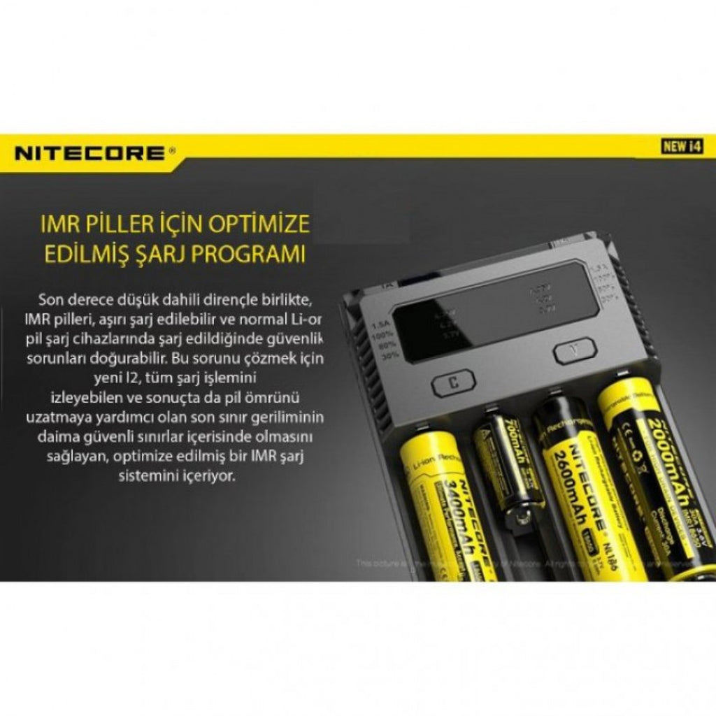 Nitecore New İ4 İntelli Charger Li-İon 4 Lü Pil Şarj Cihazı