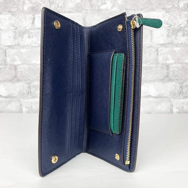 8c796be5072914 ... Wallet Emerald/Navy Michael Kors Jet Set Travel Large Card Carryall & Card  Case Holder