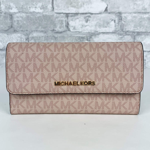 eb0c6bb7bff7 Wallet Pink MK Michael Kors Jet Set Travel Large Trifold Wallet 35F8GTVF3B  192877002451 ...