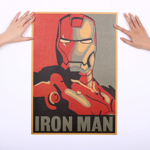 Poster Sticker Mural Autocollant Iron Man Marvel Style Retro Vintage