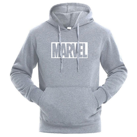 Sweat Hoodie Logo Marvel Original Homme Gris Blanc - Make It Pop - Boutique