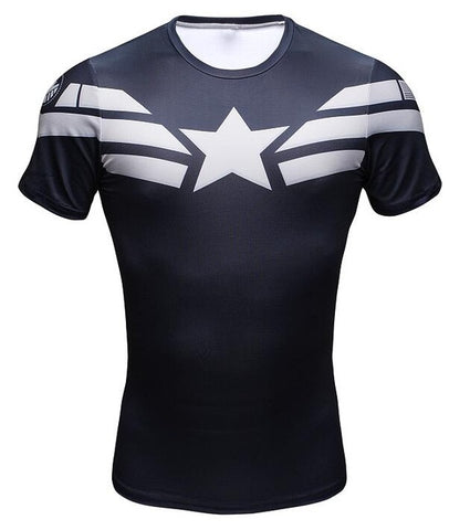 T-Shirt Compression Crossfit Captain America Homme - Make It Pop - Boutique
