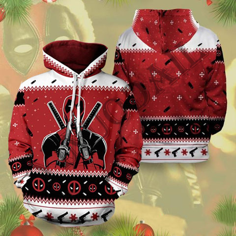 Sweat Hoodie de Noël Deadpool Original Homme