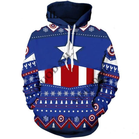 Sweat Hoodie de Noël Captain America Original Homme