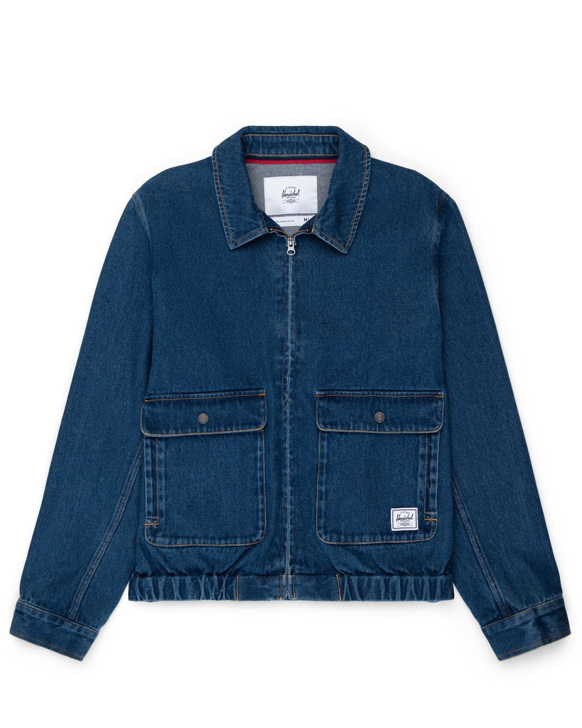Herschel Denim Bomber Jacket Mid Wash Denim