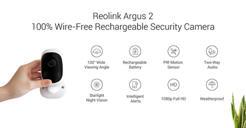 REOLINK ARGUS 2 WIRE FREE RECHARGEABLE CAMERA – Siimu Design